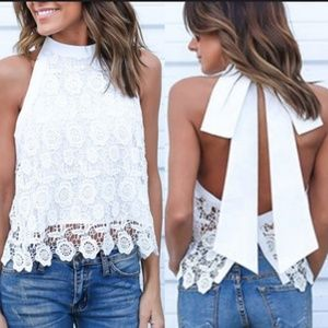 Tops - Lace Blouse Top with bow tie